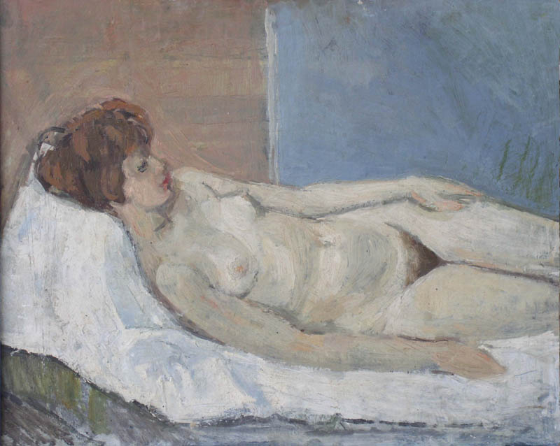 Early Nude !958 oil in panel 1958