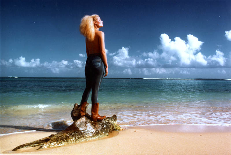 Muse: Roanne Rogers Peskett clad only in paint and boots Making a point about pencil jeans. Shot on the Ursula Andress beach in Jamaica at 6 AM sun up