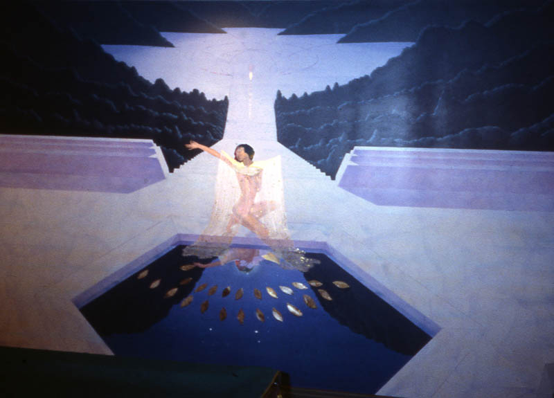 Moon goddess in basement pool room